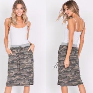 JOEY Olive Camo Print Midi skirt